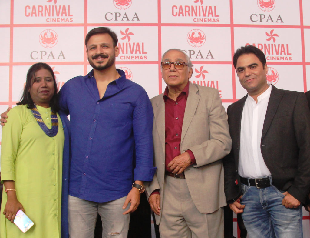 Anita Peter of CPAA, Vivek Obeori, YB Sapru - CPAA Chairman and Rajesh Makhija of Carnival Cinemas at the CPAA event at Carnival Imax, Wadala
